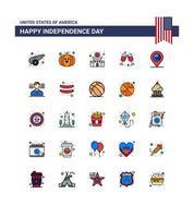 USA Unabhängigkeitstag Farbe Icon Set