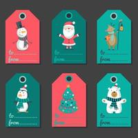 jul färgglada etiketter, taggar semesteruppsättning