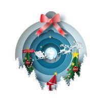 Papierkunst frohe Weihnachten mit Verzierungskugel vektor