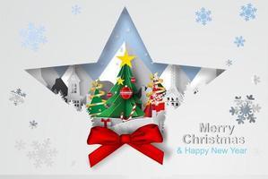 Papierkunst-Weihnachtsbaum mit verziertem Sternkonzept vektor