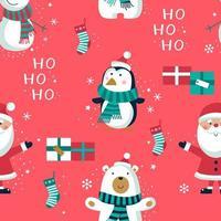 jul sömlösa mönster med karaktärer och gåvor vektor