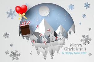 Frohe Weihnachten der Papierkunst mit Ballongeschenk, das über Stadt schwimmt vektor