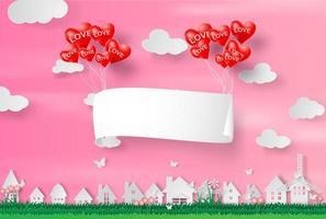 Papierkunst und Handwerk des glücklichen Valentinstags, Papierschild