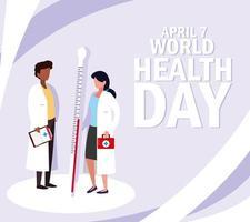 världens hälsodag med läkare och ikoner vektor