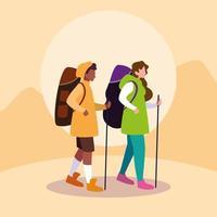 junge Freunde reisen Design vektor