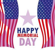 Happy Memorial Day Karte mit USA Flagge vektor