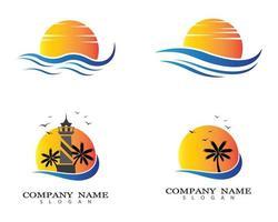 Sonnenuntergang und Leuchtturm Logo gesetzt vektor