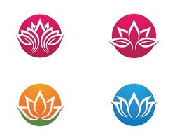 Blumen Lotus Umriss Logo Design Set