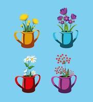 Satz schöne Frühlingsblumen im Topf vektor