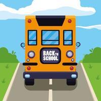 skolbuss på gatan vektor