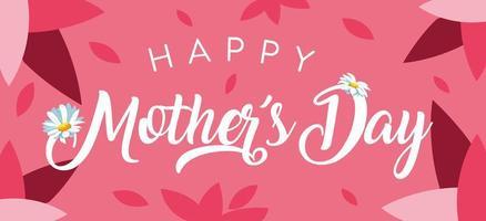 lycklig mors dagskort med kronblad och blommor vektor