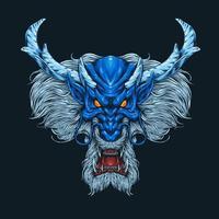 blaues Drachenkopf wütendes Gesicht