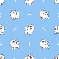 söt samoyed hund tecknad seamless mönster