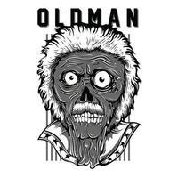 oldman patriot t-shirt design svartvitt