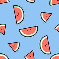 niedliches lächelndes nahtloses Muster der Wassermelonenkarikatur vektor