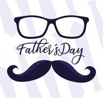 glückliche Vatertagskarte mit Schnurrbart und Brille
