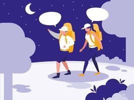 junges Paar spricht in der Landschaft