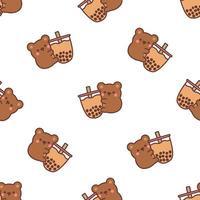 niedlicher Bär, der Blasentee-Karikatur nahtloses Muster hält