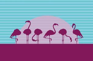 Silhouetten von Flamingovögeln strömen in die Landschaft