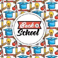 tillbaka till skolan mönster bakgrund med rund klistermärke