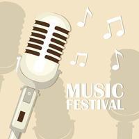 Retro Mikrofon Musik Festival vektor