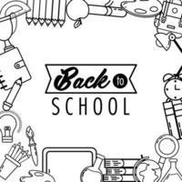tillbaka till skolans design med skolikoner vektor