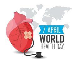 hjärtorgan med stetoskop för världens hälsodag vektor