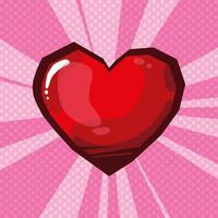 hjärta älskar popkonst stil vektor