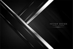 metallischer Hintergrund der schwarzen und grauen Pfeilform mit Silber. vektor