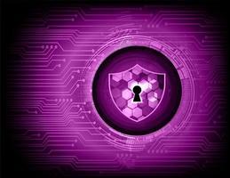 geschlossenes Vorhängeschloss auf lila digitalem Hintergrund