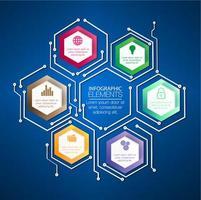 färgglada hexagon koncept för cyberanslutning vektor