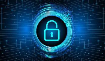 geschlossenes Vorhängeschloss auf blauem digitalem Hintergrund, Cybersicherheit