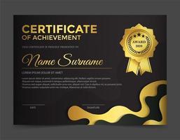 Premium gold schwarz Zertifikat Vorlage Design vektor