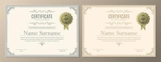 Zertifikatsdiplom mit Währungsgrenze vektor