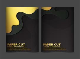 Luxus Gold und schwarze Wellen abstrakte Abdeckung vektor