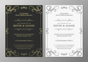 lyx vintage gyllene inbjudningskort vektor