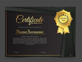 Premium gold schwarz Zertifikat Vorlage Design. vektor
