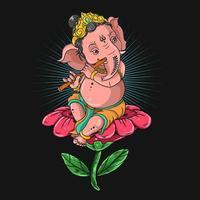 Ganesha spielt Flöte vektor