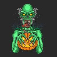 Zombie mit Kürbis vektor