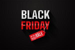 einfaches schwarzes Freitag-Typografie-Design mit Werbepreisschildern vektor