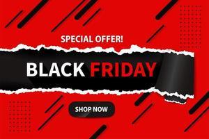 svart fredag bakgrund med modernt rött och svart sönderrivet papper vektor
