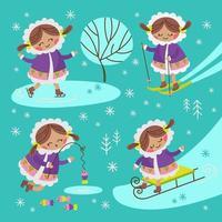 Eskimomädchen, das Winteraktivitäten setzt vektor