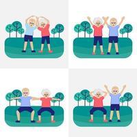 äldre par tränar i parken