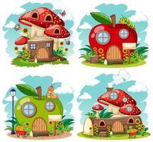 Reihe von magischen natürlichen Häusern für Fantasy-Geschichten vektor