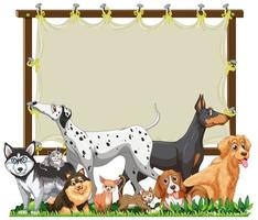 en grupp söta husdjur med en tom banner