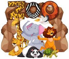Gruppe von Cartoon-Tieren unter einem Zoo-Zeichen