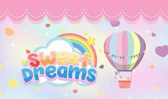 süße Träume Schriftzug mit pastellfarbenem Ballon und Einhorn vektor