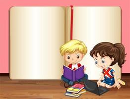 junge Kinder, die in der Schriftart eines leeren Buches studieren vektor