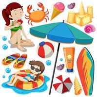 uppsättning sommar strand ikon och barn vektor