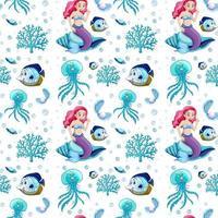 nahtlose Meerestiere und Meerjungfrau-Zeichentrickfigur auf weißem Hintergrund vektor